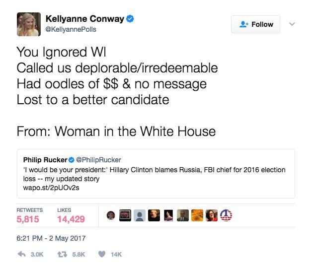 Conway Slams Clinton