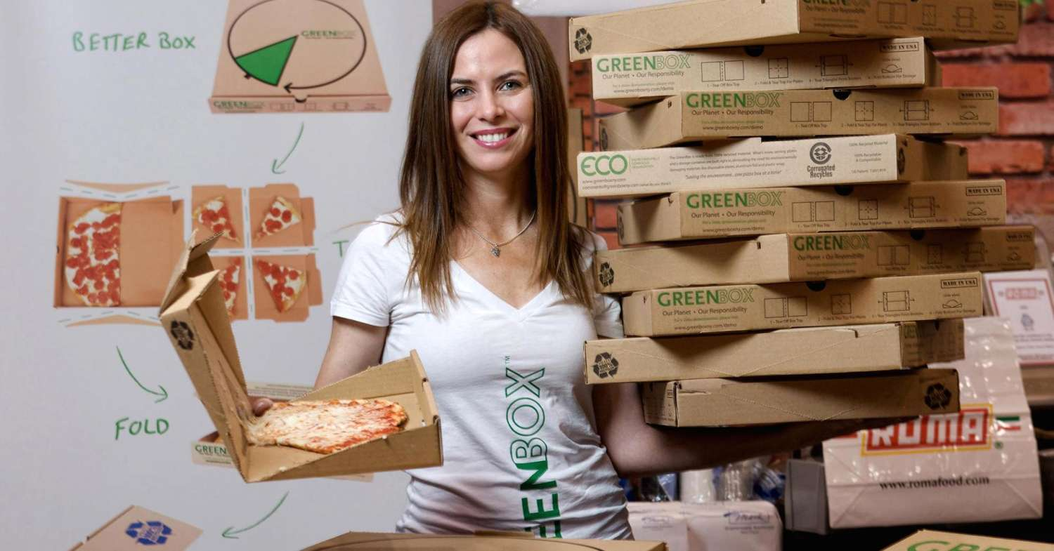 Pizza Box - Woman and Boxes